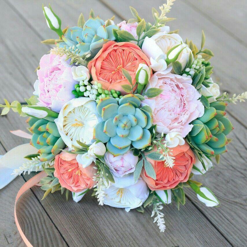 Wedding bouquet, clay bouquet, succulent bouquet, roses, peony, coral bouquet