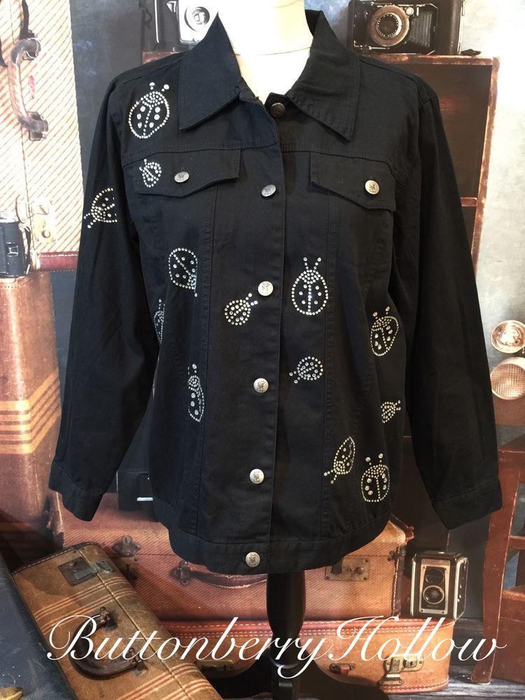 Quacker Factory Black Stretch Denim Jacket Jewel Embellished Lady