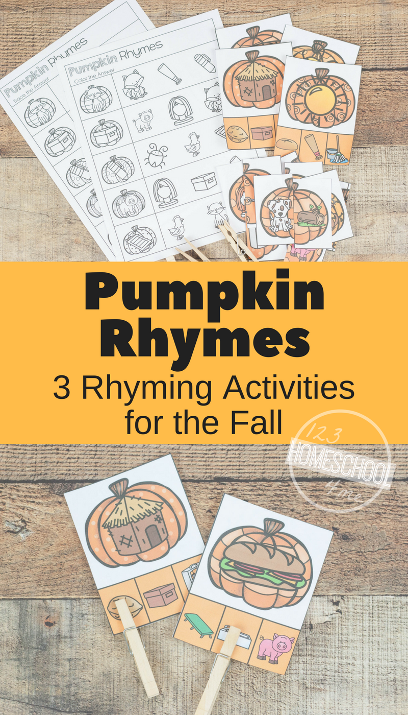 Free Pumpkin Rhyming Words Clip Cards Rhyming Worksheets And