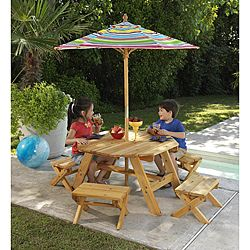 Octagon Table 4 Benches With Multi Striped Umbrella Children S Patio Furniture Set Octagon Table Kids Table Chair Set Kids Table Chairs