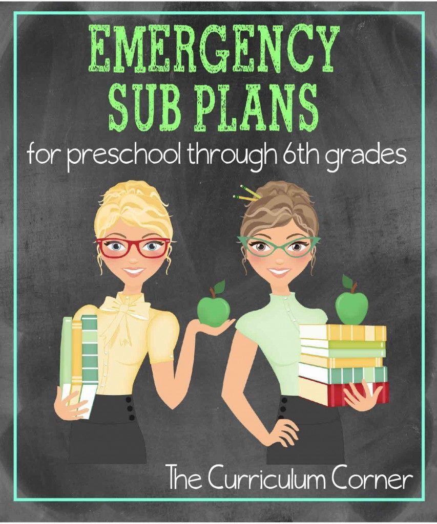 Pre-K - 6th Grade Emergency Sub Plans