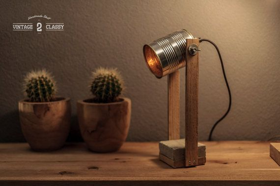 Canlight Big Wooden Lamp Wood Lamp Wooden Desk By Vintage2classy Tin Can Lights Recycled Lamp Wooden Lamp