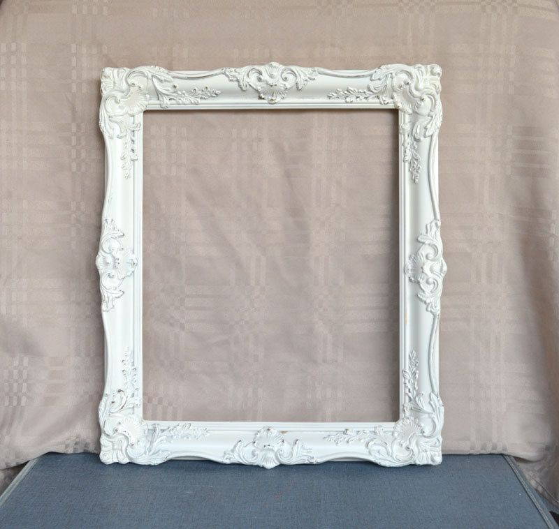 large ornate heirloom white frame need a frame like this to use as the - White Picture Frame