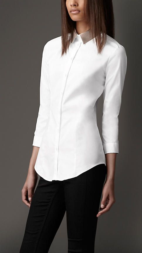 Burberry London Detachable Contrast Collar Shirt