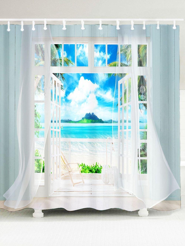 Waterproof 3d Window Frame Printed Shower Curtain Blue W79 Inch