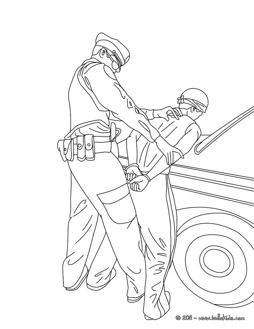 Policeman Arresting A Thief Coloring Page Coloring Pages