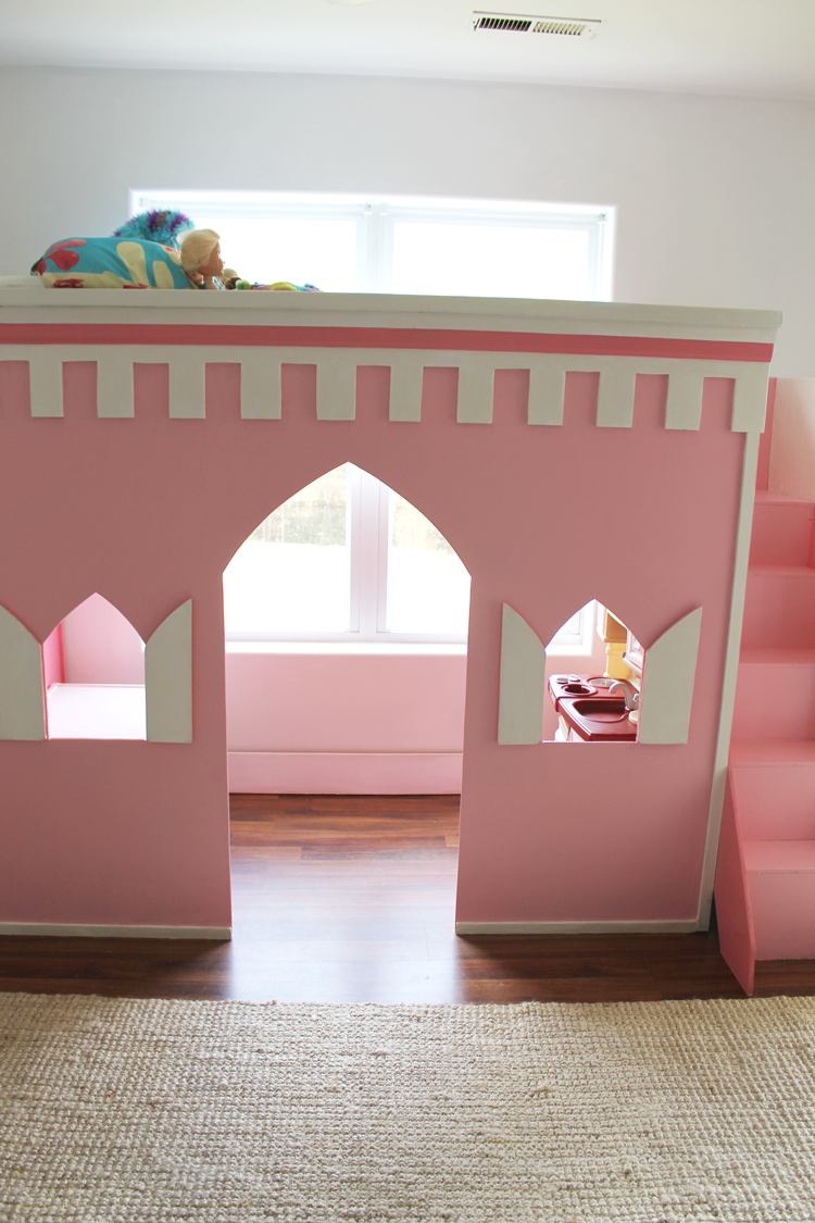 If Your Child Is Dreaming Of A Magical Bedroom You Can Build This Castle Loft Bed Perfect For A Princess Or Diy Loft Bed Princess Loft Bed Magical Bedroom