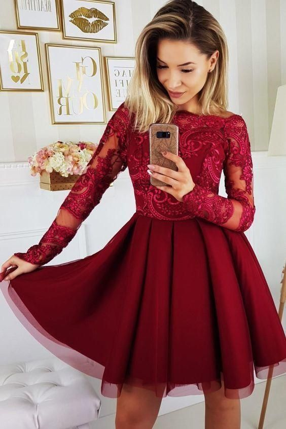 Burgundy Long Sleeve Bateau A Line Appliques Lace Tulle Pleated Homecoming Dresses ZBridal #lacehomecomingdresses