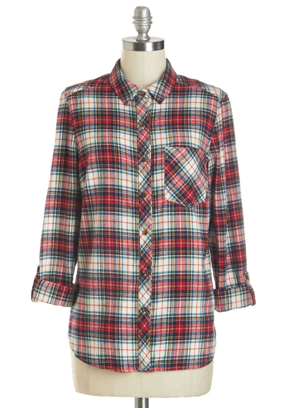 Flannel shirt with shorts  Token of Toasty Thigh Highs  ModCloth Plaid and Flannels