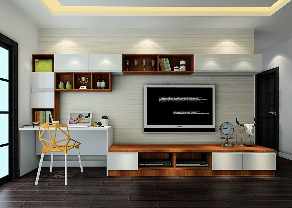 Desk and tv stand combo google search pinteres for Tv cabinet for small living room