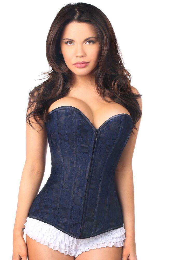 6b43b6e517f Daisy Corsets Lavish Lace Over Bust Corset in Navy Blue.  corset  style