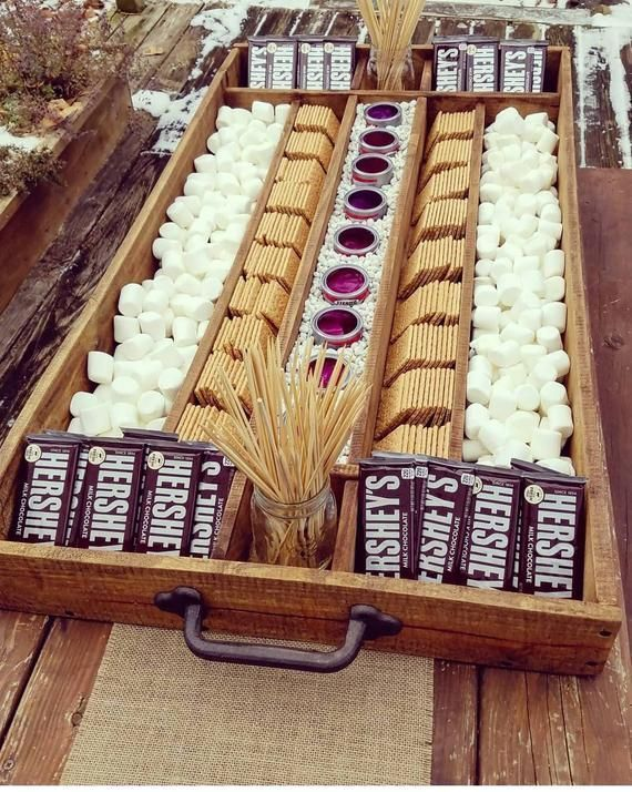 Extra Large Rustic Wood S'mores Station, S'mores Bar, Party Station, Wedding S'mores Roasting Station, Dessert Bar