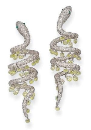 DIAMOND SERPENT EAR PENDANTS, BY MICHELE DELLA VALLE by reva