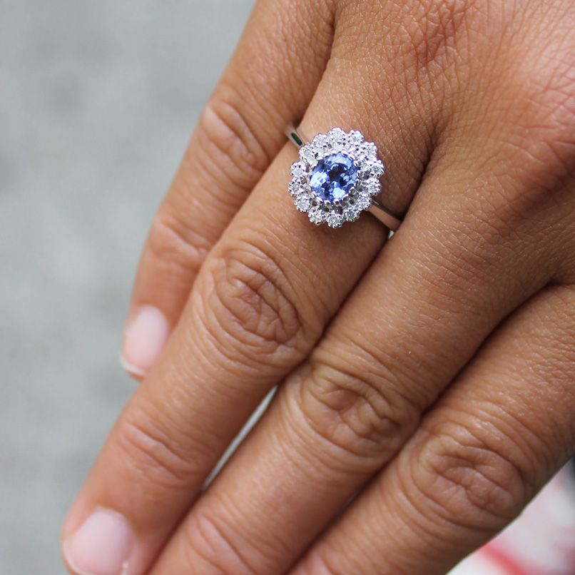 Tanzanite is a rare gem found only in the foothills for Mt. Kilimanjaro.  #tanzanite #diamond #ring