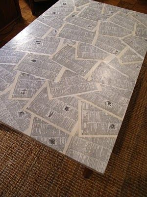Decoupage a table (or other piece of furniture) using pages