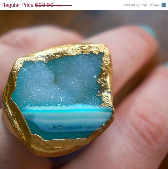 Mother's Day, yes please! 30 OFF SALE Blue druzy ring 18k gold dipped by jennleedesign, $68.60