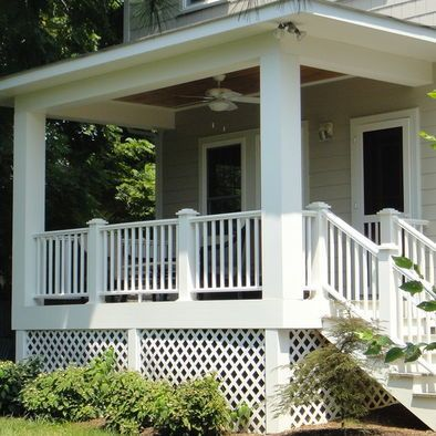 White Porch Railings With Capped Posts Covered Porch