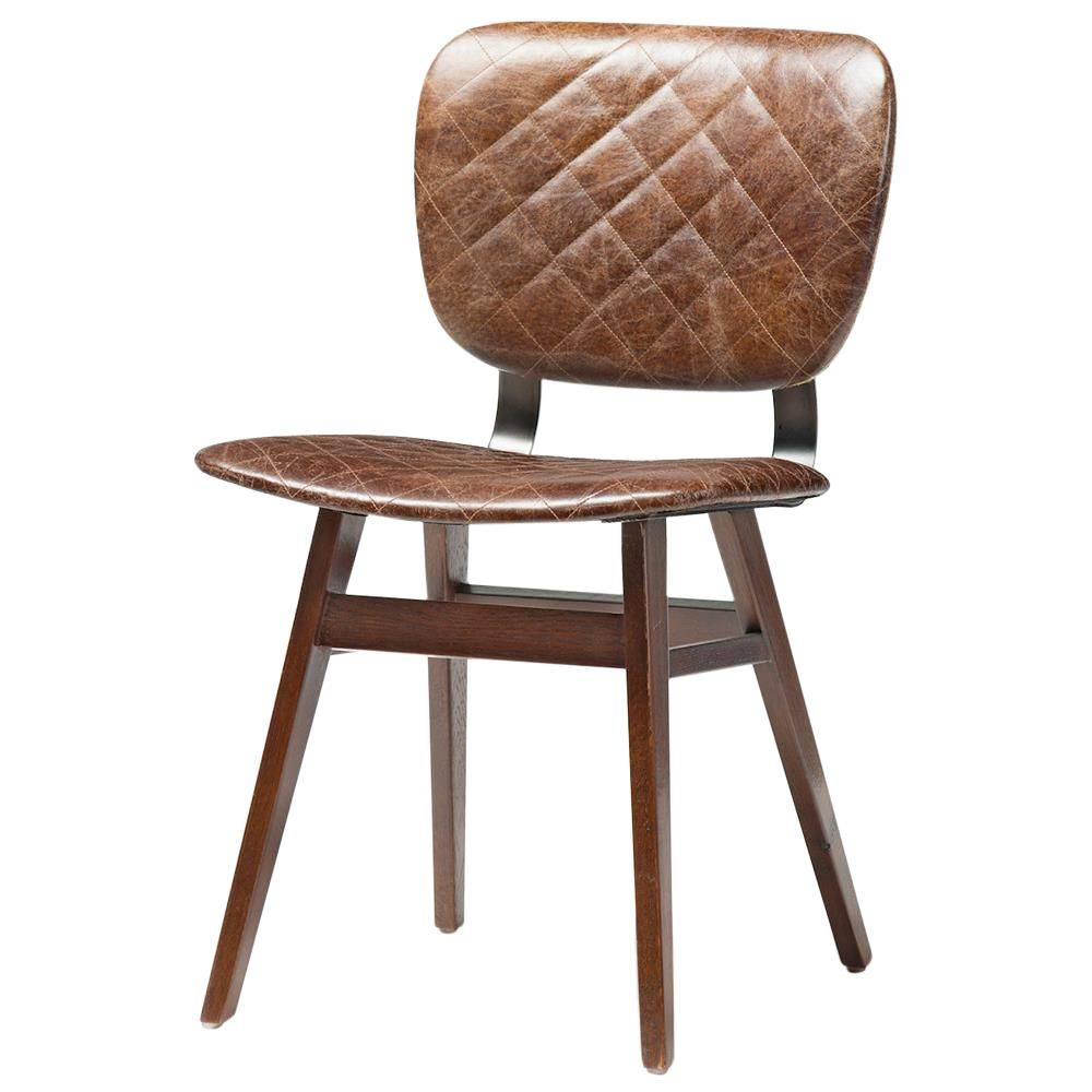 Awesome Drifter Industrial Loft Brown Leather Quilt Oak Dining Chair | Kathy Kuo  Home