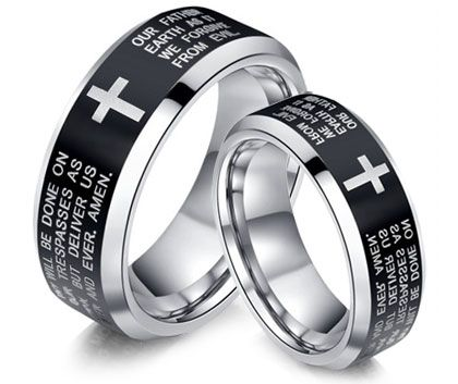 Cross Holy Laser Engraved Matching Tungsten Carbide Wedding Bands For Men And Women