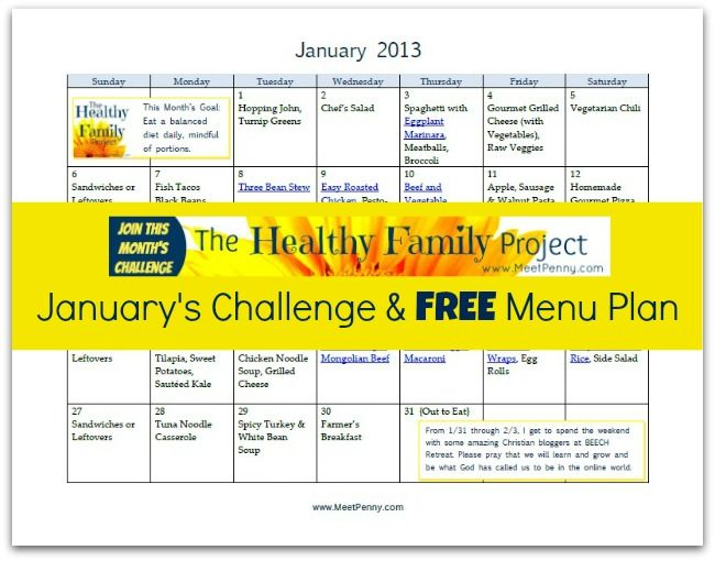 Free Printable January Dinner Menu With Links Dinner Menu Menu