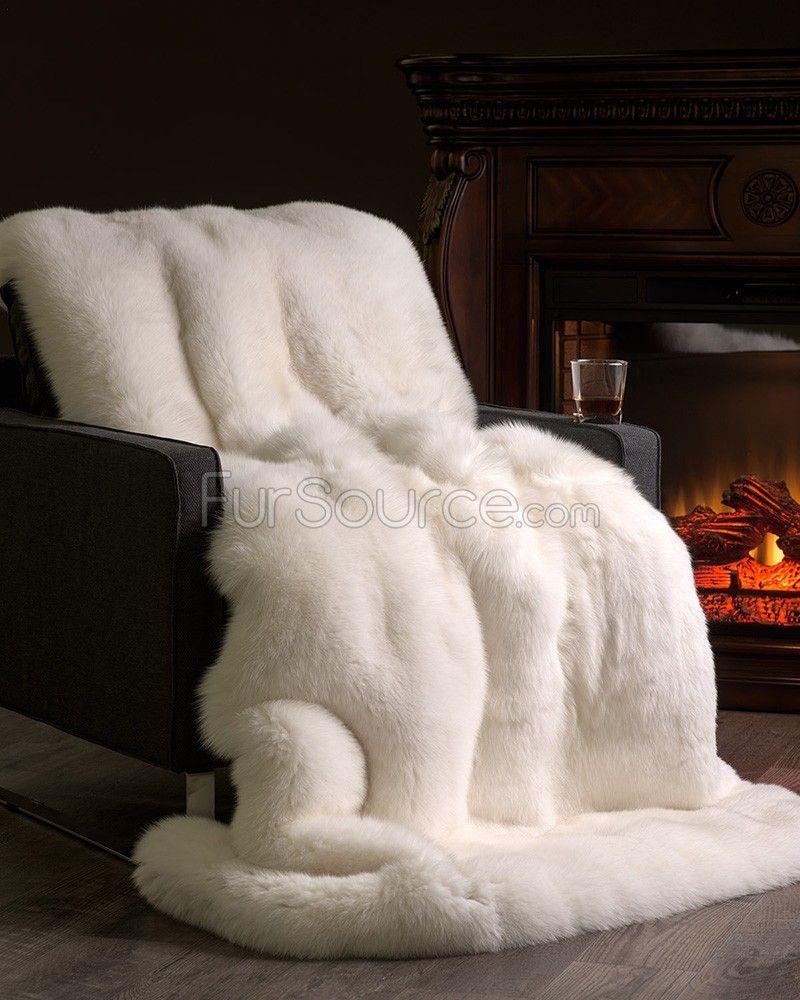 Custom Full Pelt White Fox Fur Blanket Fur Throw Abrigos De Piel Decoracion De Unas Abrigos