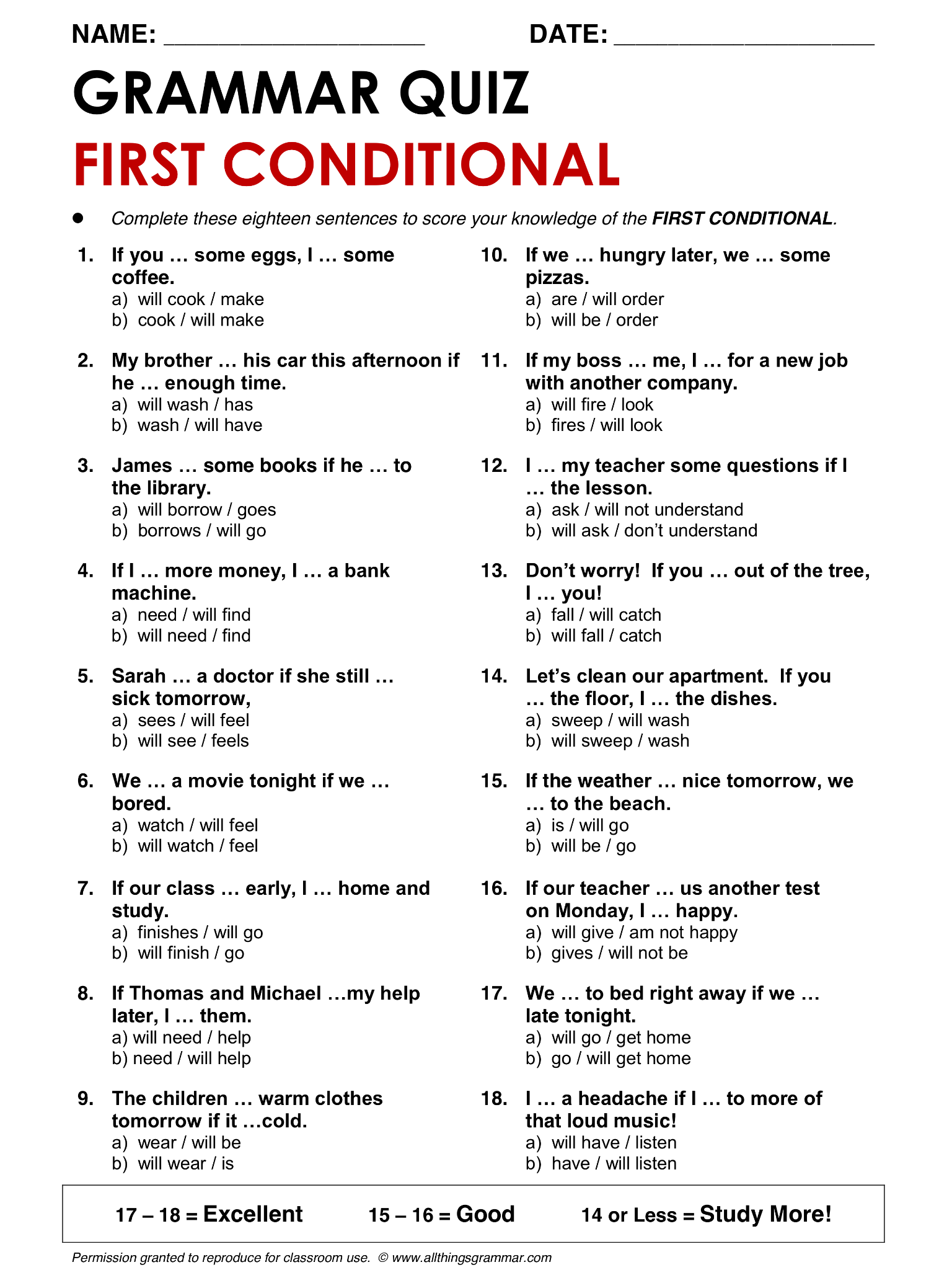 English Grammar First Conditional Lthingsgrammar