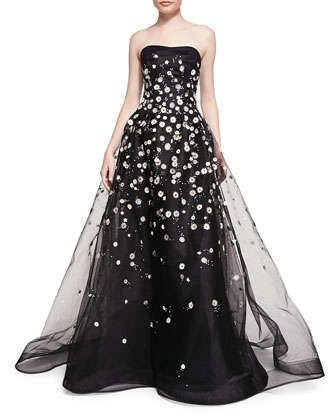 3c827a949691 Strapless+Ball+Gown+W +Embroidered+Daisies+by+Carolina+Herrera+at+Neiman+ Marcus.
