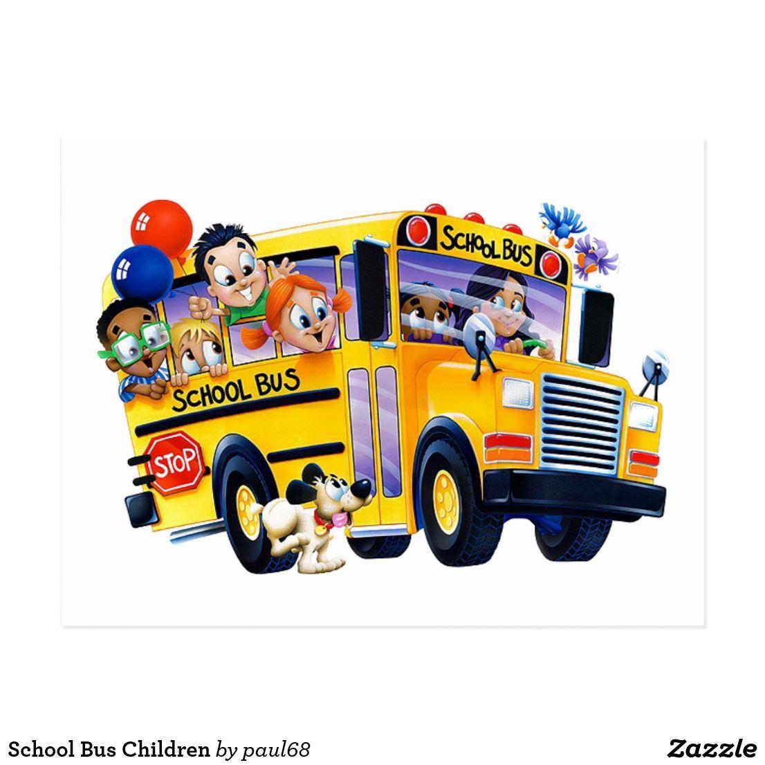 School Bus Children Postcard