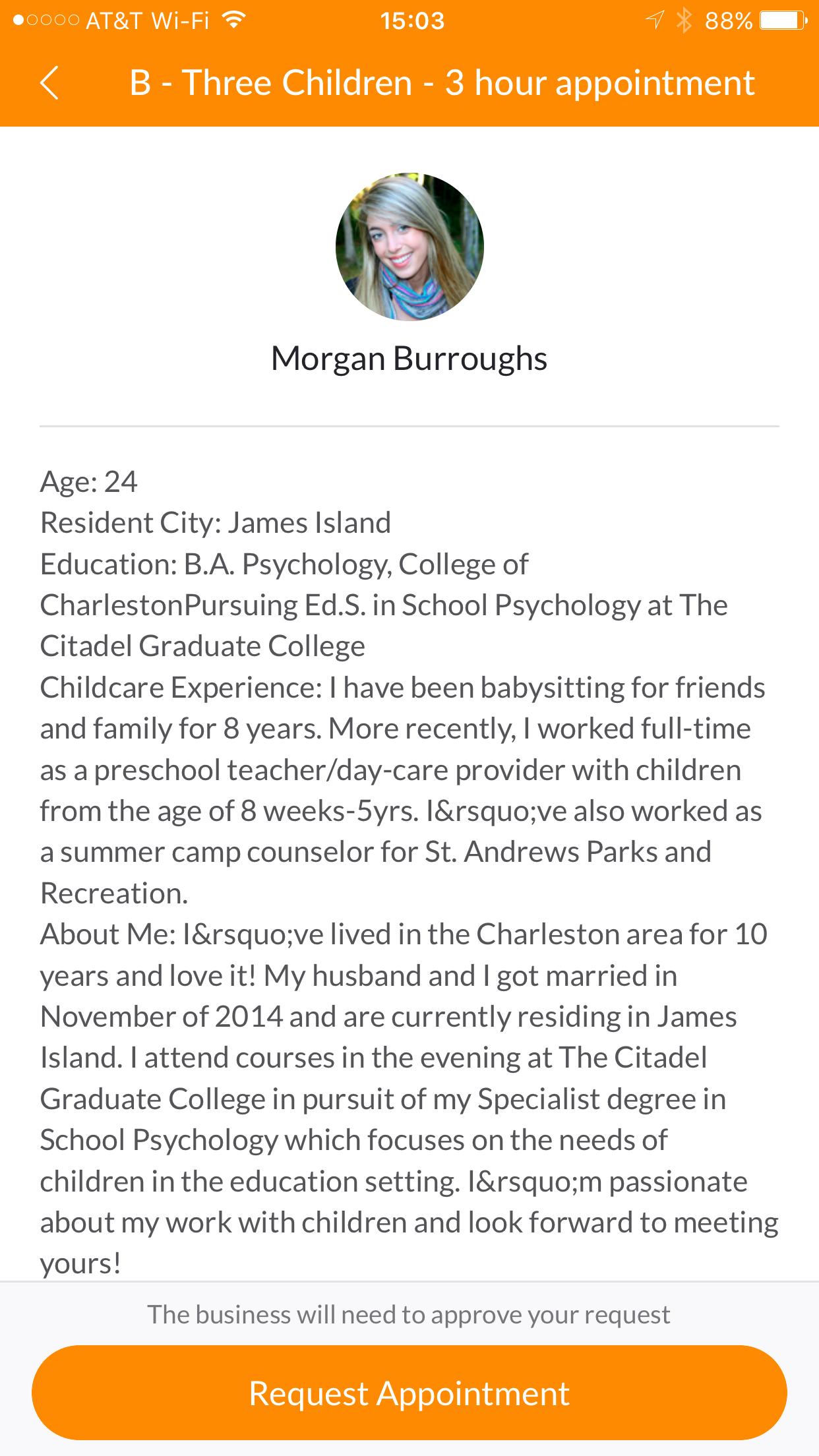 Nannypod Babysitter Weekly Profile Meet Morgan Burroughs