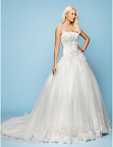 This is A-list but Ash does not like straps so would want to have them altered--right length and love the bottom edge.  A-line/Princess Spaghetti Straps Court Train Lace Wedding Dress - USD $ 398.99
