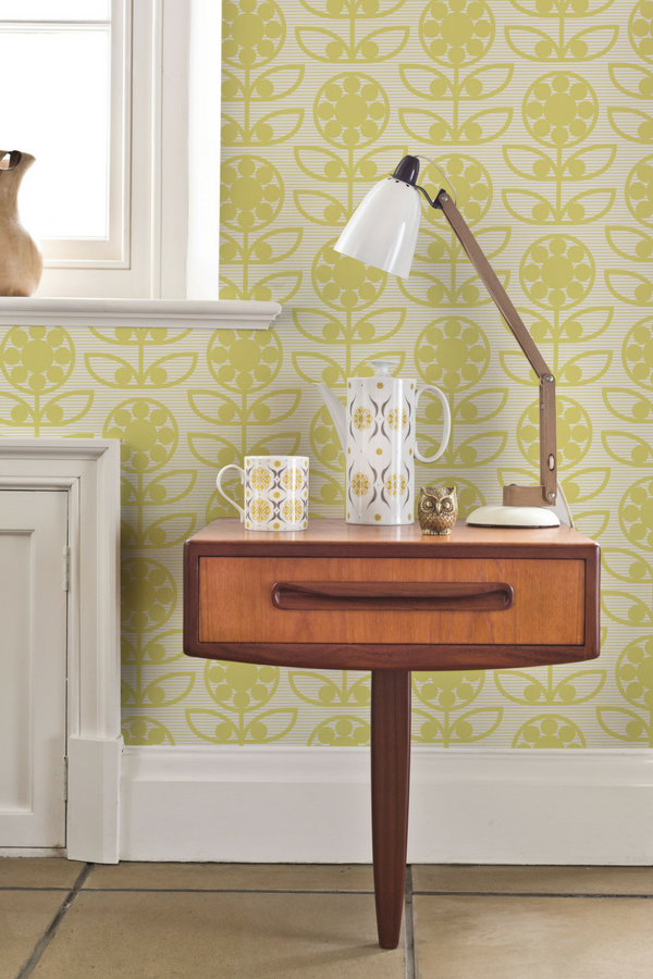 Dotty Flower by Layla Faye Light Olive Wallpaper