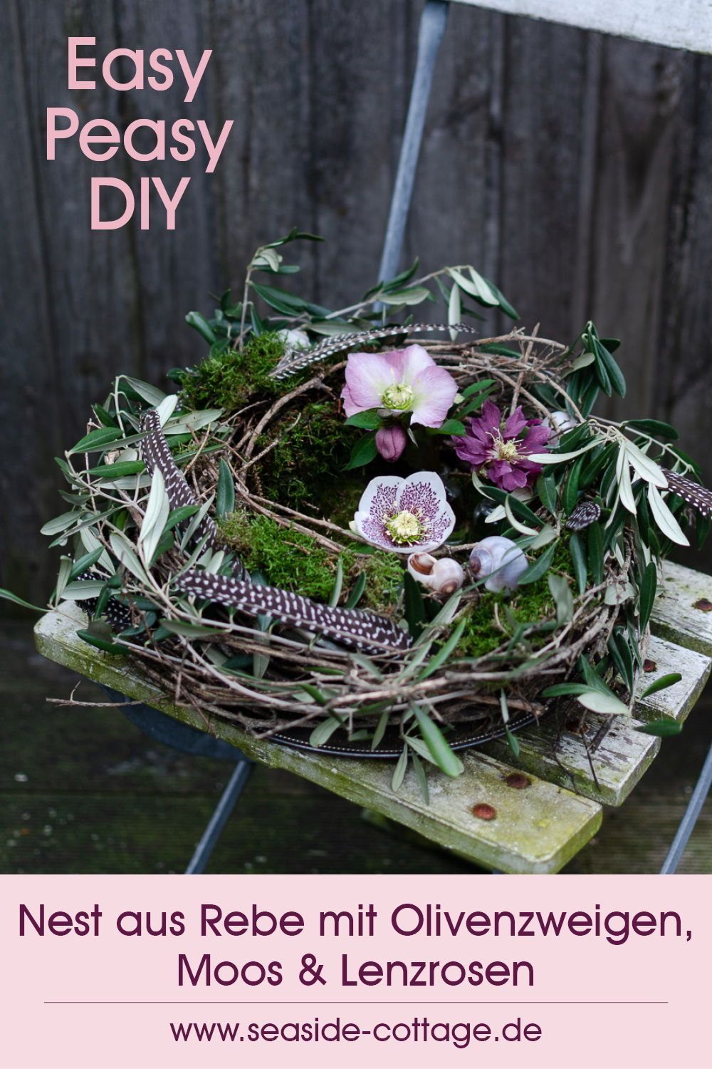 Photo of Vine nest with olive branches, moss and spring roses – Seaside-Cottage