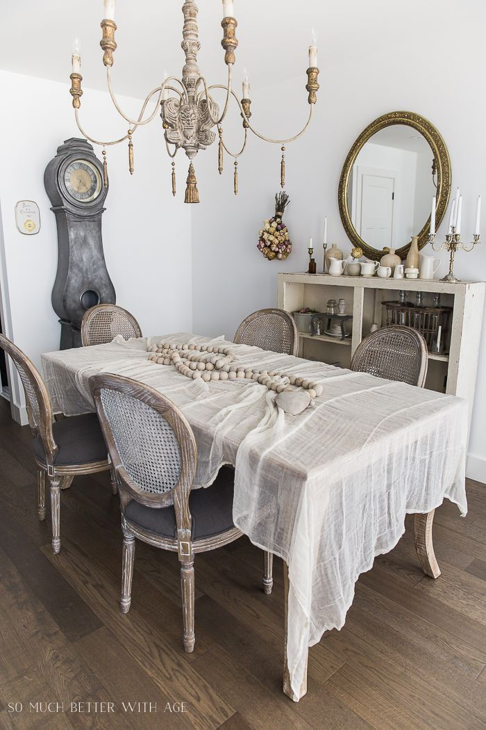 Chic Antique Cheesecloth Table Linens Featured In This French Vintage Styled Dining Room From So Much Better With Age Frenchcountry Somuchbetterwithage