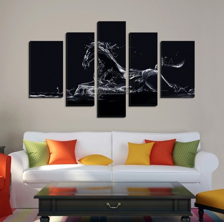 Large canvas wall art water horse with black background canvas print 5 panels stretched on