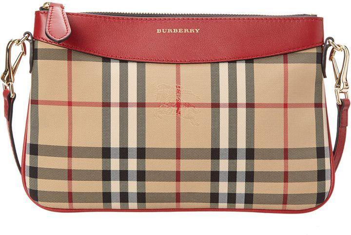 6b43b5b7a6ef Burberry Peyton Horseferry Check   Leather Clutch Bag