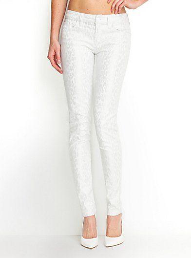 Brittney Sense Leopard Fashion White Skinny Jeans rFfrS