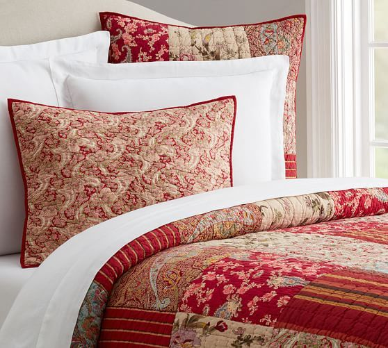 Pottery Barn Johanna Reversible Patchwork KING Quilt NEW