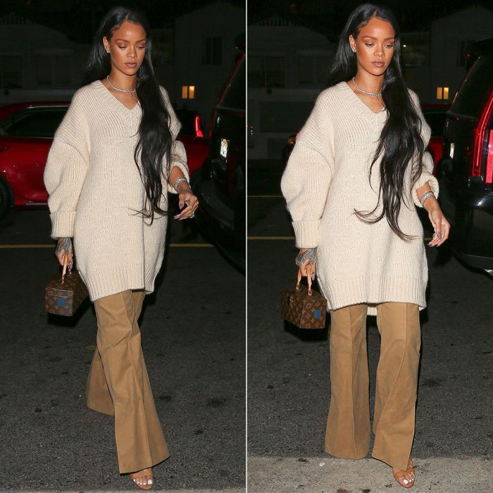 Rihanna Celine Fall 2016 sweater and pants, Louis Vuitton x Frank Gehry Twisted…