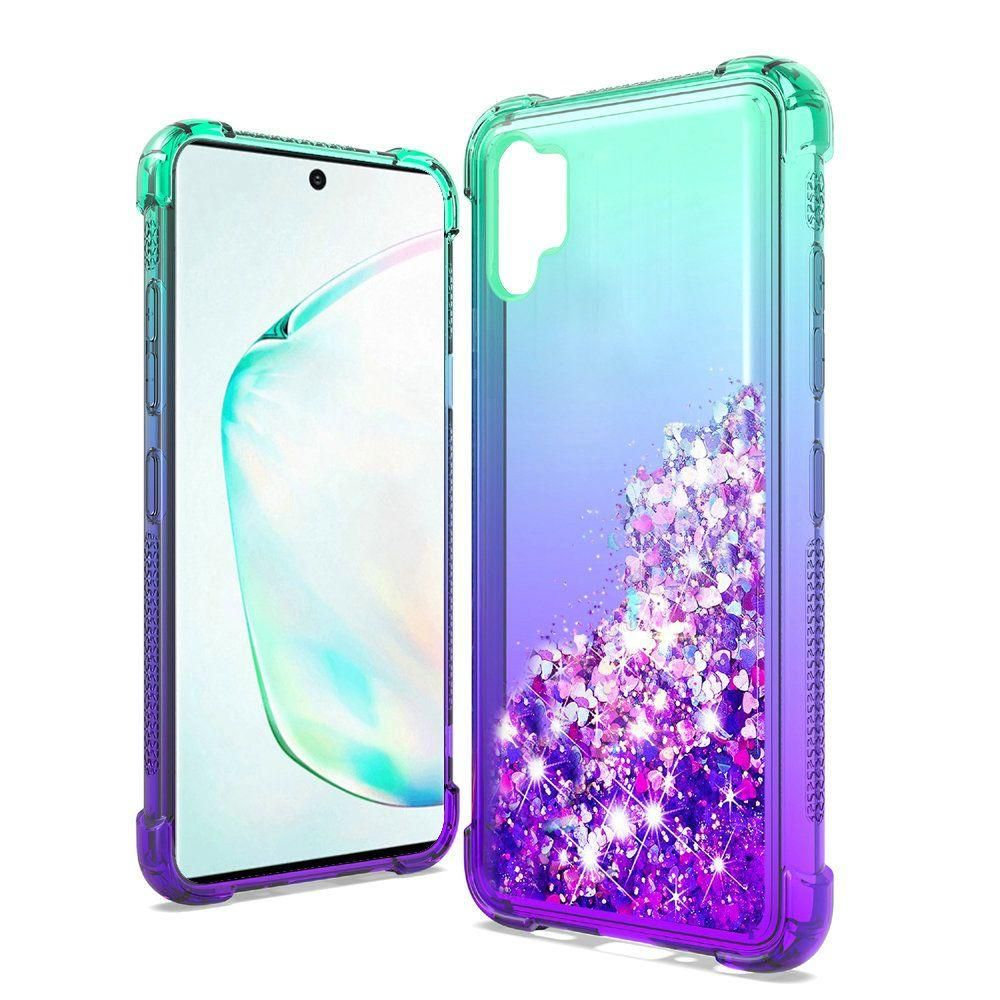 Liquid Glitter Quicksand Two Tone Shock Proof TPU Case, Teal/Purple for Samsung Galaxy Note 10 Plus