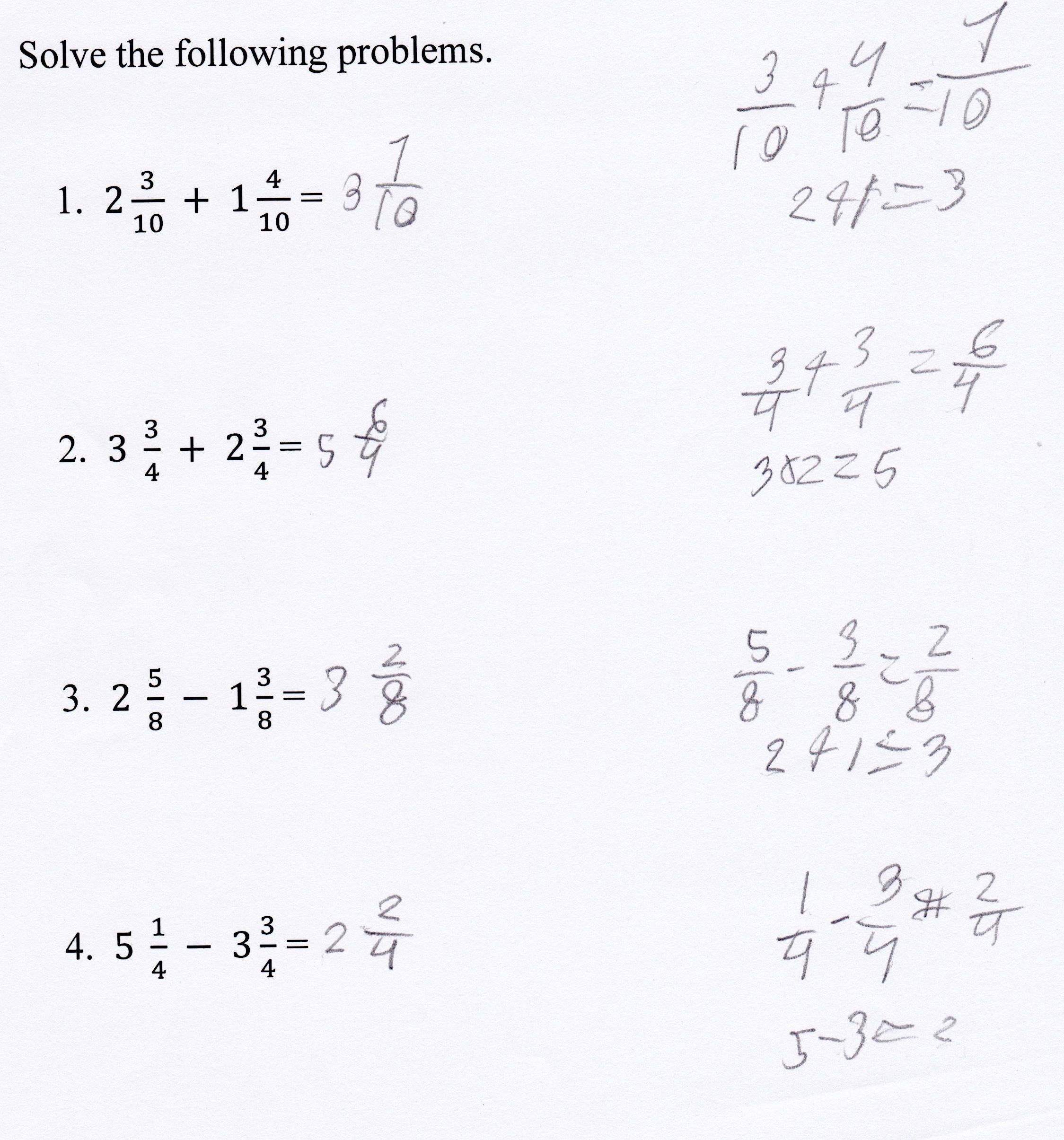 Adding And Subtracting Mixed Numbers Students Are Given