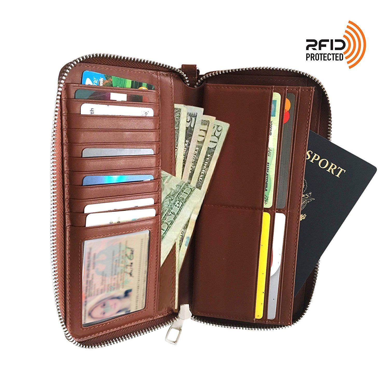 b7feea596334 Women RFID Blocked Wallet Clutch hold Phone 16 cards coin Zip-Around ...