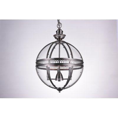 CrystalWorld Lune 3-Light Globe Pendant Finish: Satin Nickel