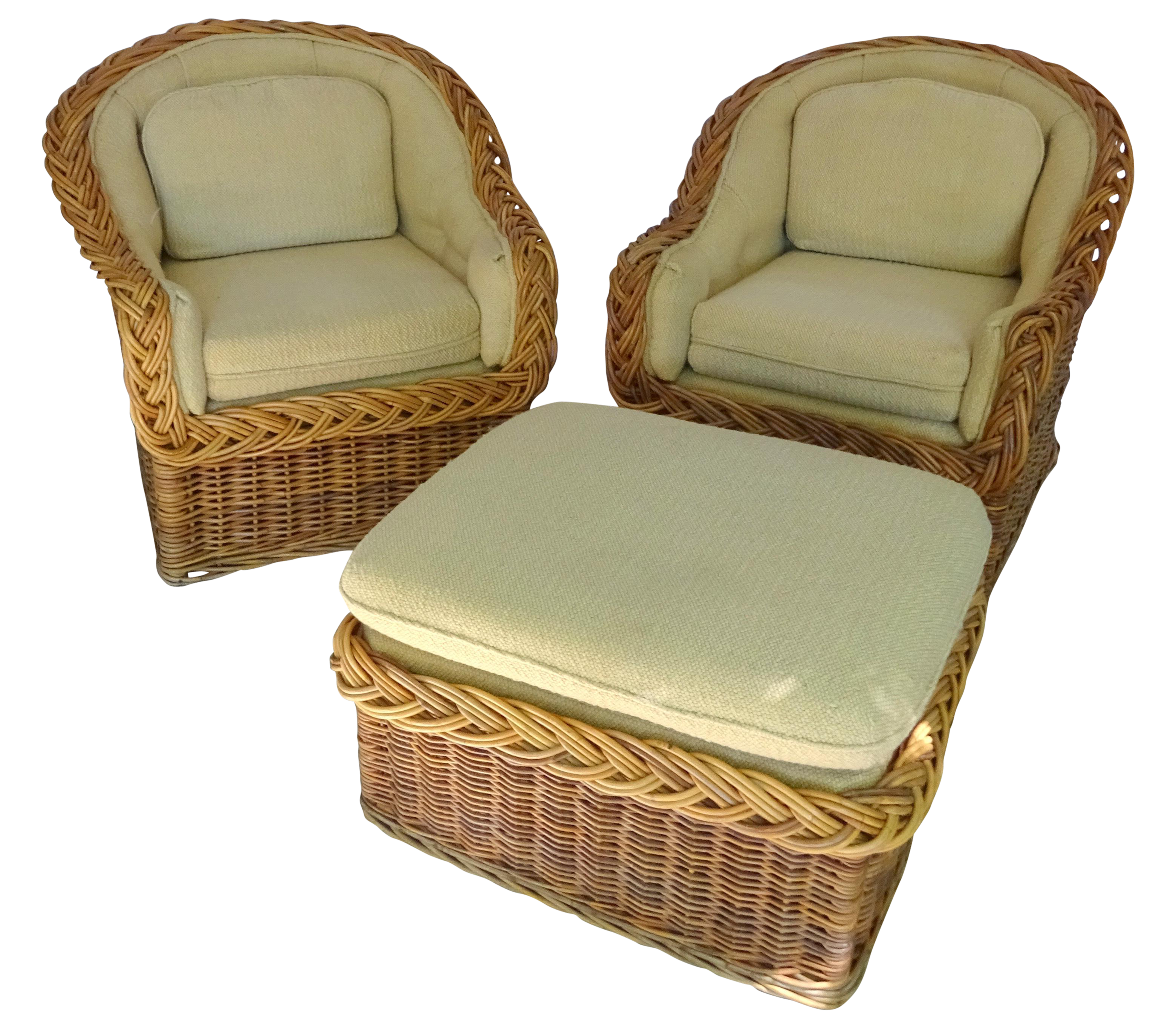 Vintage Wicker Lounge Chairs To Reupholster For LR Nook