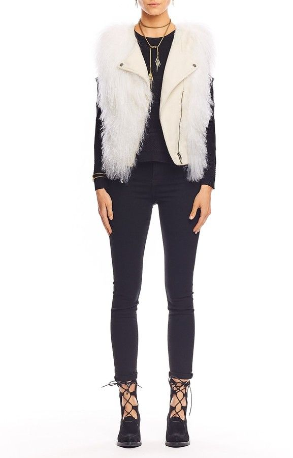 Leather and Fur Moto Vest - Details: BOUTIQUE EXCLUSIVE Timelessly chic, this leather and fur combo vest is a wardrobe staple.