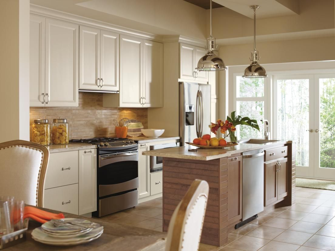 Singer kitchens cabinets to go new orleans stocked cabinets singer - White Kitchen Cabinets With Medium Wood Island Dynasty Cayhill Fontaine Door Styles On Maple