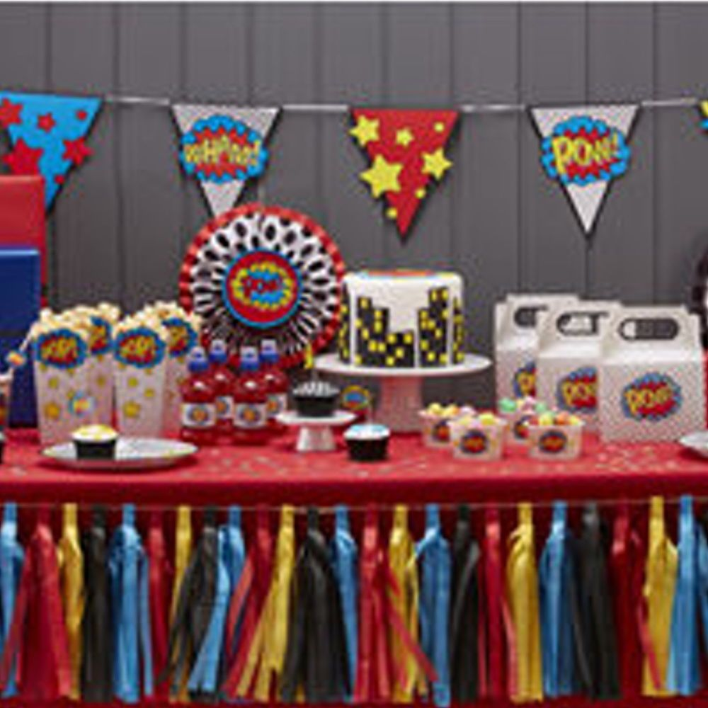 Birthday table decorations boy - Details About Comic Superhero Pow Kaboom Birthday Party Tableware Balloons Decorations