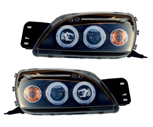 Need For Mk7 Or Any 2015 Ford Fiesta Mk5 99 02 Black Angel Eye Projector Head Lights With White Led Lit Rings Black Angels Angel Eyes Ford Fiesta
