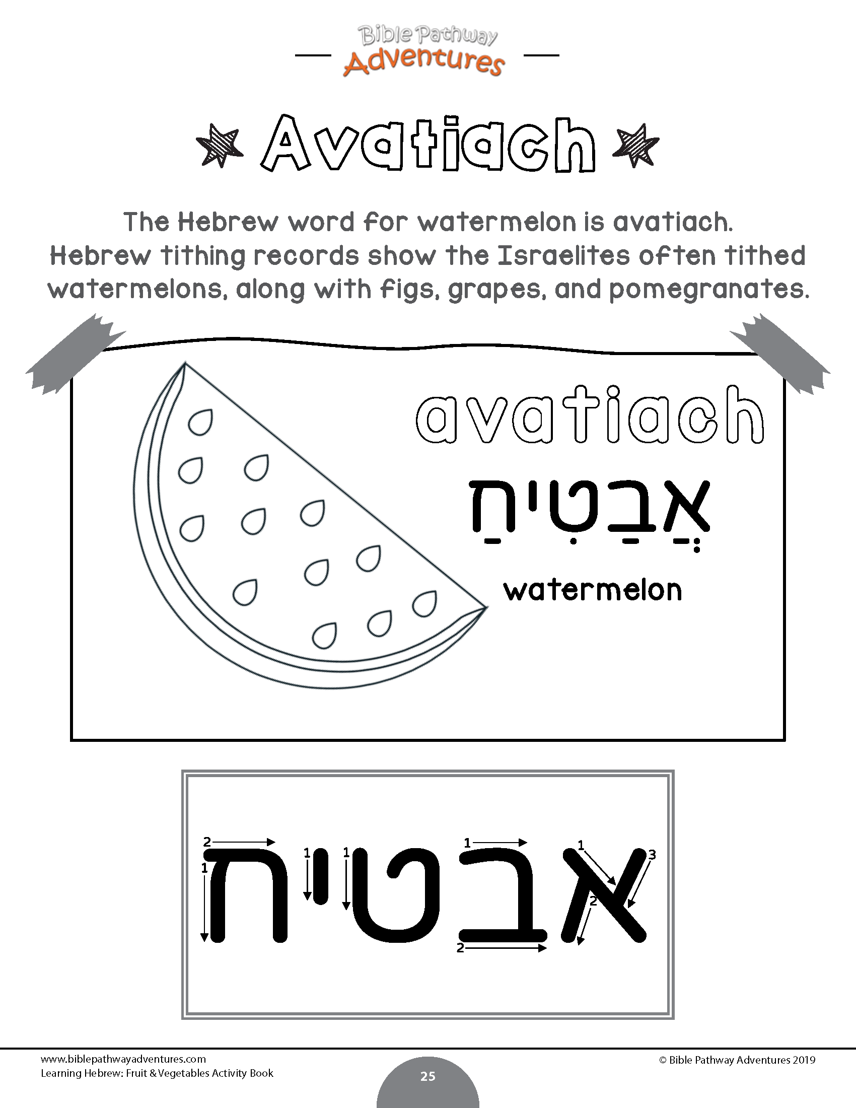 The Hebrew Word For Watermelon Is Avatiach Learn The