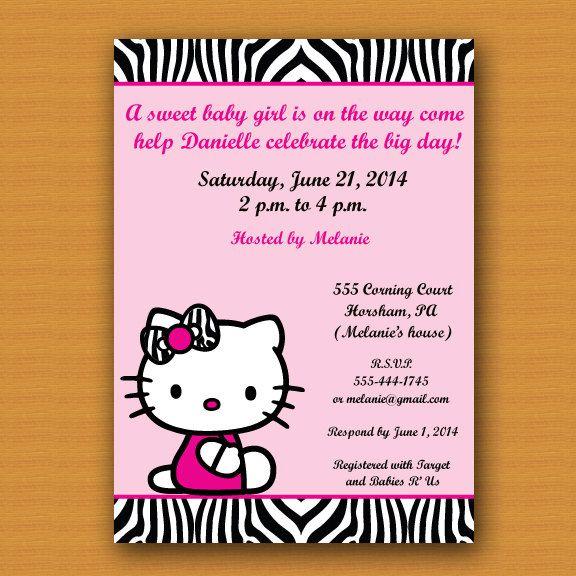 Birthday Baby Shower Kitty Invitation Pinned By Pin4etsy Com Hello Kitty Invitations Fun Invitations Invitations
