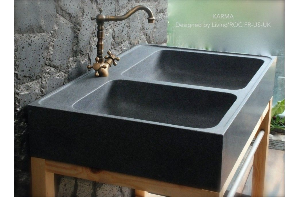 90x60 Évier de cuisine en pierre granit véritable - KARMA cuisines